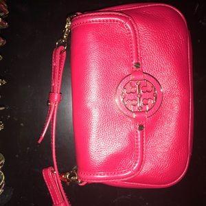 Red mini Tory Burch messenger bag